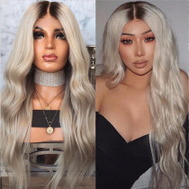 Dark Root Grey Ombre Human Hair Glueless Lace Front Wigs Brazilian Virgin human Hair Pre Plucked Full Lace Wigs