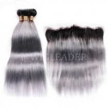 Remy Hair Ombre Color 1B/grey Hair Wefts 3 Bundle with 13*4 Ear to Ear Lace Frontal Brazilian Gray Human Hair