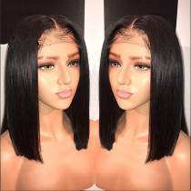 Blunt Cut Short Bob Wig Lace Front Human Hair Wigs Middle part Natural Hairline Translate Lace Remy Brazilian Hair Wig