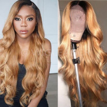 Peruvian remy Human Hair Lace Front Wig  1b/27 ombre Pre Plucked Lace Front Wig Bleached knots Glueless wig With Baby Hair