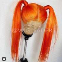 10A Orange Color 13X6 Glueless Lace Front Wig Pre-plucked  Virgin Human Hair Bleached Knots Full lace wig with baby hair