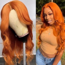 WigLeader Orange Wave Full lace Wigs 150% Density human Hair Lace Front Wigs Preplucked