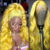 WigLeader Hot Summer Wig Yellow Color Full lace Wigs HD Swiss Lace 150% Density human Hair Lace Front Wigs Bleached Knots