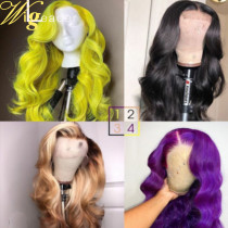 Green/Purple Wave 26 inch Long Colored Full lace Wigs 180% Density human Hair Lace Front Wig with baby hair