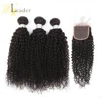 Top Garde 10A Mongolian Virgin Human Hair Kinky Curly 3 Bundles hair weaving with 4x4 Lace Closure