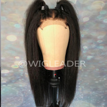 Russian 10A Kinky Straight Human hair Pre Plucked Lace front Wig Bleached knots Glueless Full Lace wig
