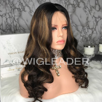 WigLeader Highlight Brown with Black 180% Density Closure Wig  Lace Front Human Hair Wigs Pre Plucked Full Lace Front Wig  with baby hair