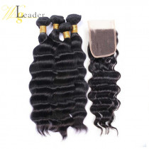 Top Garde 10A Virgin Human Hair Loose Deep Wave 3 Bundles hair weft with 4x4 Lace Closure Free Part  Hair from WigLeader