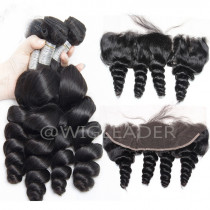 10A Grade Natural Color Hair Wefts 3 Bundle with 13*4 Ear to Ear Lace Frontal Human Hair Brazilian Loose Wave 24 hours shipping