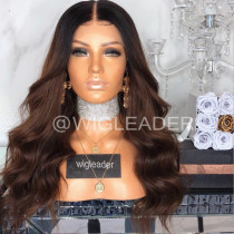 Wig Leader T1b/#4 Ombre Pre Plucked Lace Front Wigs 180% Density Glueless Full Lace Wigs Bleached Knots