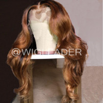 Wig Leader Swiss Lace  dark Root Color Brow Ombre Glueless Full Lace Wigs 180% Density 13x4 Lace Frontal Wig Pre Plucked