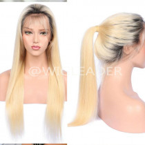 Two toned 1b/613 Straight 24 inch ombre Blonde Full lace Wigs 180% Density human Hair lace front Wig