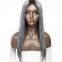 T1b/gray Straight Ombre Full lace Wigs Grey human Hair Pre Plucked Lace Front Wig with baby hair