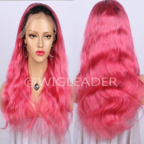 1b/pink ombre wavy Full lace wig Natural Hairline Pink Color High quality full lace wig