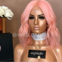 Wig Leader Blunt cut #Pink bob Lace Front Wigs Virgin Human Hair Pre-plucked  Full lace wigs