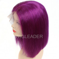 100% Human Hair Colorful Lace Front Wigs Pre Plucked Glueless Full Lace Wigs Blunt Bob Cut