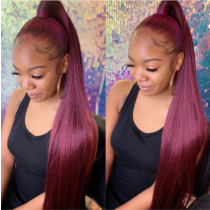 Diamonde # 99j 180% Density Straight Human Hair Lace Front Wigs bleached knots full lace wigs with baby hair