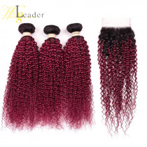 1b/#red  Ombre Tight Curly Human Hair blonde Color 3 Pcs Hair Weft Peruvian Hair bundles with 4*4 Lace Closure