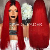 1b/red Ombre straight hair Glueless Wigs Pre Plucked Lace Front Human Hair Wigs With Baby Hair