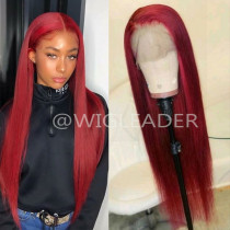 10A Red Straight human hair Wigs with Baby Hair  pre plucked natural hairline