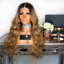 10A honey blonde ombre wavy Pre Plucked Full lace wig Bleached knots Glueless 360 Lace Front wig