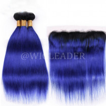 Amazing Blue Ombre Color Hair Bundle with 13*4 Ear to Ear Lace Frontal preplucked Brazilian straight Human Hair