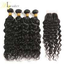 10A Water Wave Virgin Human Hair 3 Bundles with 4x4 Lace Closure Free Part Top Garde Hair from WigLeader