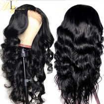 Pre-plucked Full Lace Wig Black color Middle Parting 150% Density Human Hair 13x4 Glueless Lace Front Wigs Bleached Knots