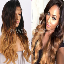 Ombre 3-toned human hair Lace front Wig Pre plucked natural Hairline 13x6 lace wigs