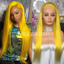 WigLeader Hot Summer Wig Yellow Color Full lace Wigs HD Swiss Lace 150% Density human Hair Lace Front Wigs Straight  Bleached Knots
