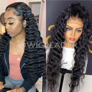 HOT Deep Wave 180% Density Lace Front Wigs Human Hair Lace Wigs Pre-plucked Hairline Full lace bleached knots Wig