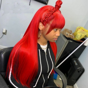 WigLeader Straight Red Color Full lace Wigs with Bangs 150% Density human Hair Lace Front Wigs