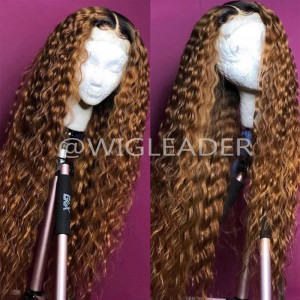 10A Omber Curly Wig Brazilian Kinky Curly Full Lace Wig Virgin Human Hair 13x6 Lace front Wigs Pre Plucked Hairline