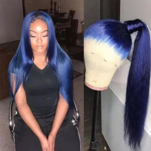 WigLeader Dark Blue Color Full lace Wigs Swiss Lace 150% Density human Hair Straight Lace Front Wigs Bleached Knots