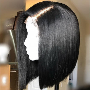 Blunt Cut Deep Parting 13x6 Lace Front wigsshort Bob Wigs  Human Hair Wig prelucked Full Lace Wigs